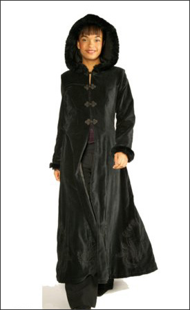 Black Womens Long Hooded Velvet Winter Coat