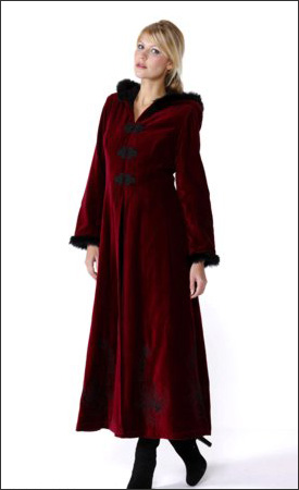 Red Womens Long Hooded Velvet Winter Coat - Womens Winter Coats - www