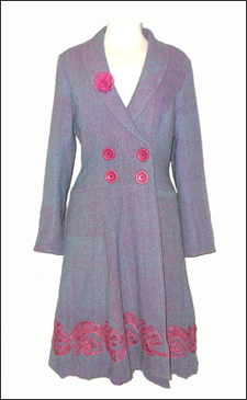 Purple Knee Length Double Breasted Coat