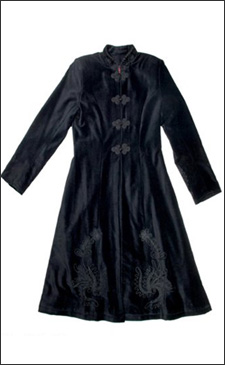 Black Womens 3/4 Length Fitted Velvet Coat with Black Embroidery