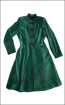 Green Womens 3/4 Length Fitted Velvet Coat with Black Embroidery