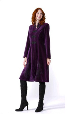 Purple Womens 3/4 Length Fitted Velvet Coat with Black Embroidery