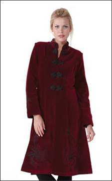 Red Womens 3/4 Length Fitted Velvet Coat with Black Embroidery
